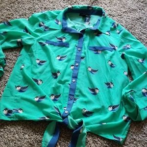 Style & Co. Green Bird Patterned Button Down M